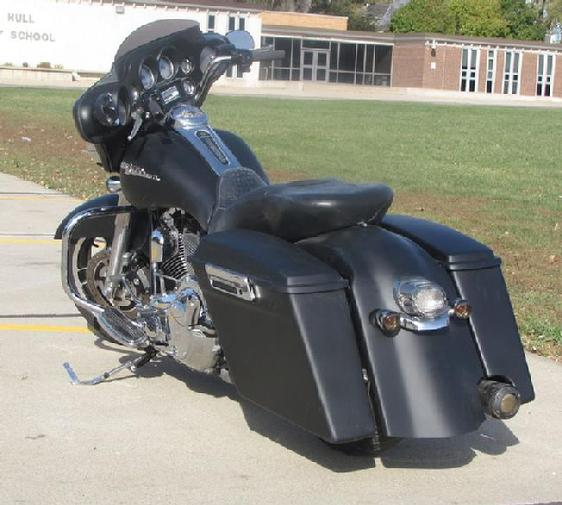 Harley Extended Bags With Right Pipe Cut Out Only